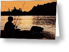 Fishing From A Rock Ae Greeting Card