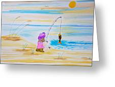 Fishing Girl Greeting Card