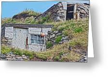 Fishing Huts Cape Cornwall Greeting Card