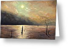 Fishing In The Twilight Waters Greeting Card
