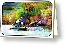 Fishing On Saguaro Lake In Arizona Greeting Card