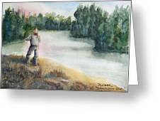 Fishing On The Banks Of The Churchill River, Sask, Ca Greeting Card