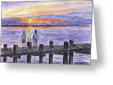 Fishing On The Dock Greeting Card
