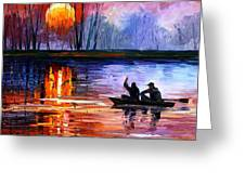 Fishing On The Lake  Greeting Card