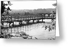 Fishing Pier And Train Tracks Greeting Card