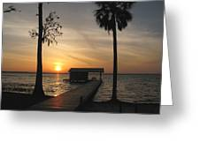 Fishing Pier At Dusk Greeting Card