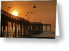 Fishing Pier At Sunrise Greeting Card by Steven Ainsworth