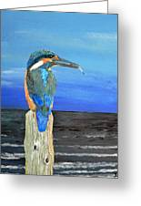 Fishing Post Kingfisher Of Eftalou. Greeting Card by Eric Kempson