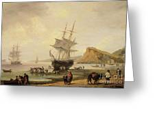Fishing Scene, Teignmouth Beach And The Ness, 1831 Greeting Card