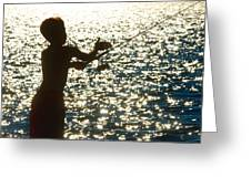 Fishing Silhouette Youngster Greeting Card