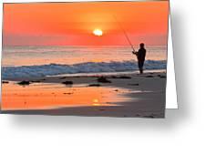 Fishing The Golden Dawn Greeting Card