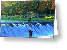 Fishing The Spillway 2 Greeting Card