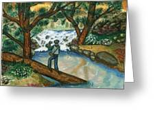 Fishing The Sunny River Greeting Card