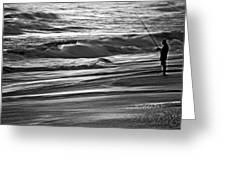 Fishing The Surf Greeting Card