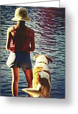 Fishing With The Pup Greeting Card