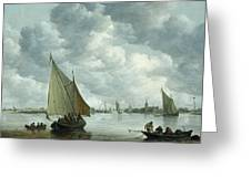 Fishingboat In An Estuary Greeting Card by Jan Josephsz van Goyen