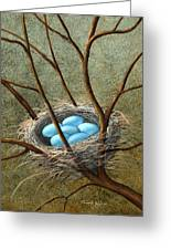Five Blue Eggs Greeting Card