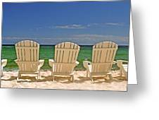 Five Chairs On The Beach Greeting Card
