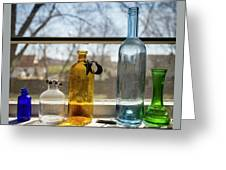 Five Colored Bottles Greeting Card