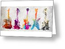 Five Colored Guitars Greeting Card