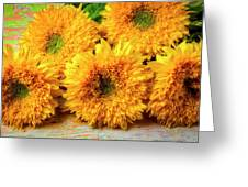 Five Exotic Sunflowers Greeting Card