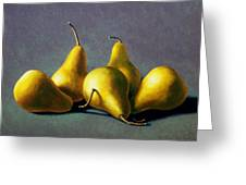 Five Golden Pears Greeting Card