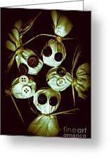 Five Halloween Dolls With Button Eyes Greeting Card