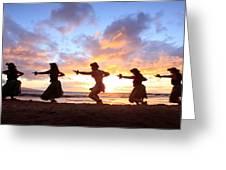 Five Hula Dancers At Sunset Greeting Card by David Olsen