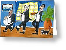 Five Italian Waiters Greeting Card