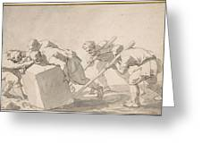 Five Men Pushing A Block Of Stone Greeting Card