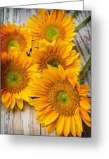 Five Moody Sunflowers Greeting Card