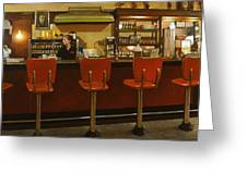 Five Past Six At The Mecca Cafe Greeting Card by Doug Strickland