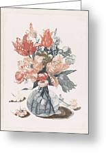 Five Prints With Flowers In Glass Vases, Anonymous, After Jean Baptiste Monnoyer, 1688 - 1698 Greeting Card