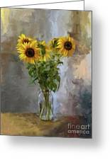 Five Sunflowers Centered Greeting Card by Lois Bryan