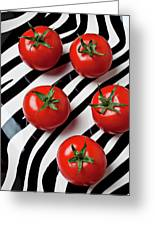 Five Tomatoes  Greeting Card by Garry Gay