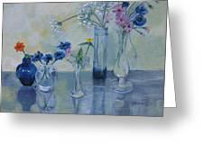 Five Vases Greeting Card