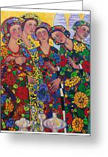Five Women And The Iris Greeting Card