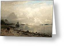 Fjord Landscape With Figures Greeting Card