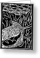 Fjord Norway - Limited Edition Linocut Print Greeting Card