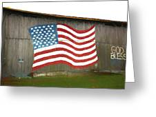 Flag And Barn - Painting Greeting Card
