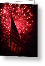 Flag And Fireworks Greeting Card