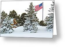 Flag And Snowy Pines Greeting Card