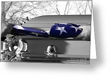 Flag For The Fallen - Selective Color Greeting Card