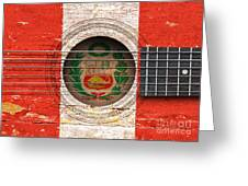 Flag Of Peru On An Old Vintage Acoustic Guitar Greeting Card