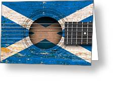Flag Of Scotland On An Old Vintage Acoustic Guitar Greeting Card