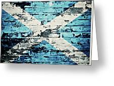 flag of Scotland painted on old brick wall Greeting Card