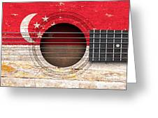 Flag Of Singapore On An Old Vintage Acoustic Guitar Greeting Card