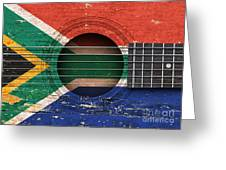 Flag Of South Africa On An Old Vintage Acoustic Guitar Greeting Card