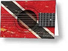 Flag Of Trinidad And Tobago On An Old Vintage Acoustic Guitar Greeting Card