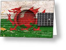 Flag Of Wales On An Old Vintage Acoustic Guitar Greeting Card